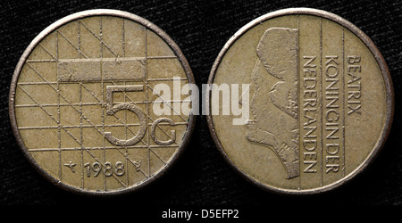 5 Gulden coin, Queen Beatrix, Netherlands, 1988 - Stock Photo