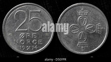 25 Ore coin, Olav V, Norway, 1974 - Stock Photo