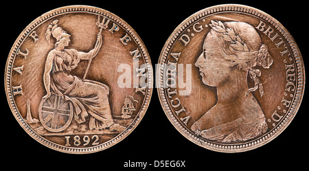 Half penny coin, Queen Victoria, UK, 1892 - Stock Photo