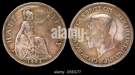 Half penny coin, Britannia, King George V, UK, 1932 - Stock Photo