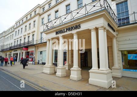Entrance to the Royal Priors Shopping Centre The Parade Leamington Spa Warwickshire UK - Stock Photo