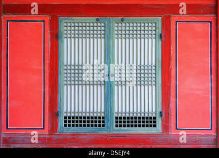 window on a gyeongbokgung palace in seoul, korea. - Stock Photo