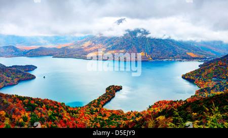 Landscape of Mt. Nantai and Lake Chuzenji in Nikko, Japan. - Stock Photo