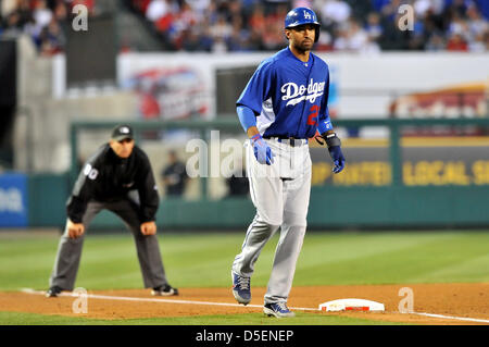 Anaheim, California, USA. 30th March, 2013. Dodgers' Matt Kemp #27 in action during the preseason Major League Baseball - Stock Photo