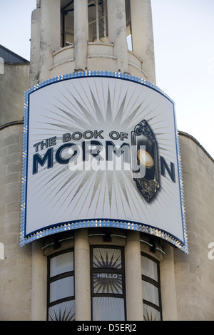 Advertisement for the Book of Morman hit musical on the west end - Stock Photo