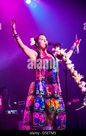 Chicago, USA. 30th March, 2013. Mexican singer-songwriter Lila Downs performs at the Congress Theater in Chicago, - Stock Photo