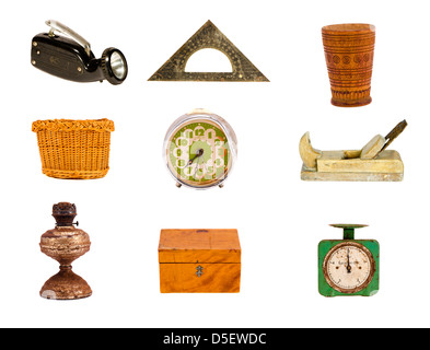 various old objects and tools group isolated on white - Stock Photo
