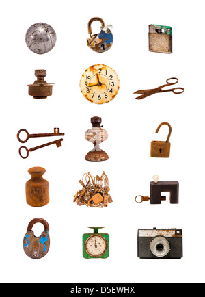 various old objects and tools assorted group isolated on white - Stock Photo