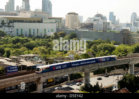 The skytrain in Bangkok near Siam Square, Thailand - Stock Photo