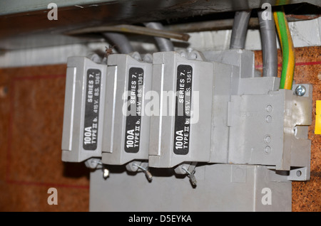 Three phase one hundred amp fuses number 3289 - Stock Photo