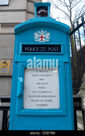 A disused historical Police Public Call telephone box near Postman's Park in the City of London England UK  KATHY - Stock Photo