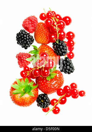 Different fresh berries on a white background - Stock Photo