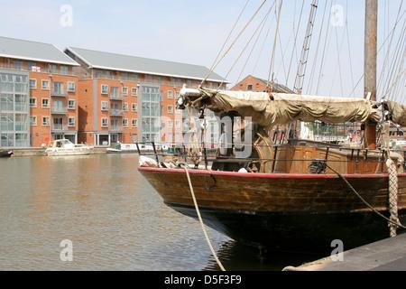 Waterside apartments from sailing ship Gloucester Docks Gloucestershire England UK - Stock Photo