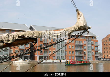 waterside apartments from sailing ship Gloucester Docks Gloucestershire England UK - Stock Photo