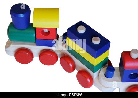 A wooden toy train - Stock Photo