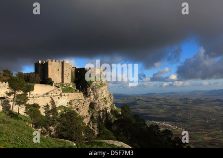 The Venus Castle at Erice, Sicily, Italy - Stock Photo