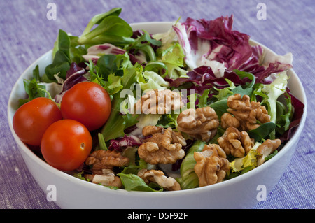 Close-up view of fresh organic Mixed Salad with Tomato and Walnut - Stock Photo