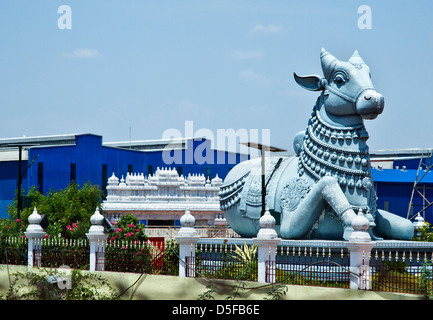 Statue of Nandi Bull at Sri Kanchi Kamakoti Peetam Cultural Exhibition, Vedal, Kanchipuram, Tamil Nadu, India - Stock Photo