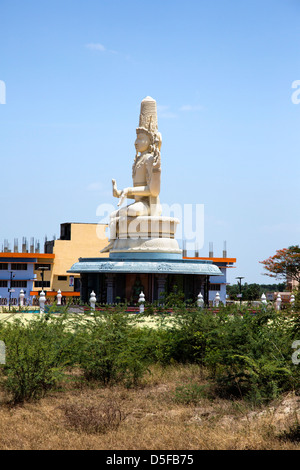 Statue of Lord Shiva at Sri Kanchi Kamakoti Peetam Cultural Exhibition, Vedal, Kanchipuram, Tamil Nadu, India - Stock Photo