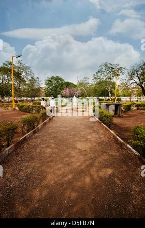 Walkway in a park, Rajkot, Gujarat, India - Stock Photo