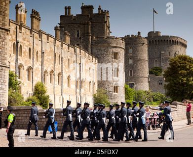 England, Berkshire, Windsor, Castle Hill, Royal Air Force Regiment changing the guard - Stock Photo