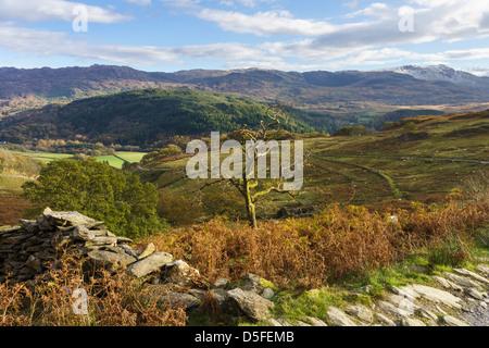 View from Watkin path across Nant Gwynant valley to Cnict in Snowdonia National Park Nantgwynant Gwynedd North Wales - Stock Photo