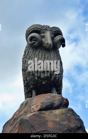 Moffat ram statue, Borders Region, Scotland, UK - Stock Photo