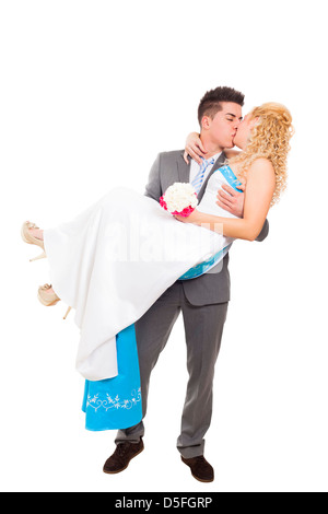 Just married wedding couple in love kissing, isolated on white background - Stock Photo
