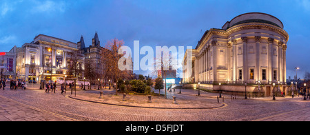 The Empire theatre and St George's hall panorama evening time. - Stock Photo