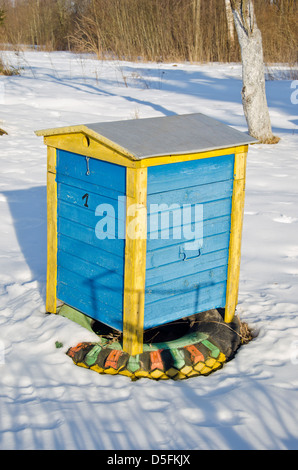 colorful wooden beehive in winter garden on snow - Stock Photo