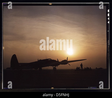 Sunset silhouette of flying fortress, Langley Field, Va. (LOC) - Stock Photo