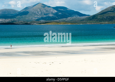North Harris seen from South Harris across Luskentyre Bay and Traigh Rosamol. - Stock Photo