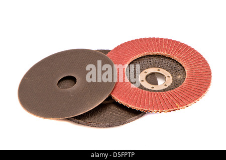 various grinding discs tool  group isolated on white background - Stock Photo