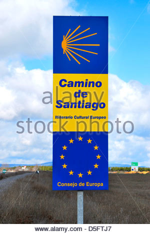 Road sign in Camino de Santiago, european cultural itinerary. Pilgrimage route to the Cathedral of Santiago de Compostela - Stock Photo