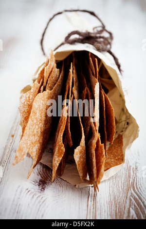 Thin and healthy rye crackers with selective focus - Stock Photo