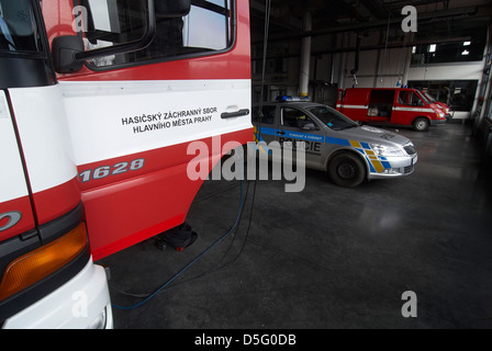 Czech emergency service - cesky integrovany zachranny system IZS - police, fire and rescue service, Emergency medical - Stock Photo
