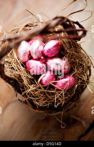 White, dark and milk chocolate easter eggs - Stock Photo