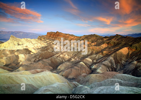 Manley Beacon (L), Cathedral Rock (R) and badlands, Zabriskie Point, Death Valley National Park, California USA - Stock Photo