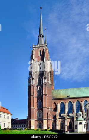 Medieval, Gothic cathedral in Wroclaw (Breslau), Poland - Stock Photo