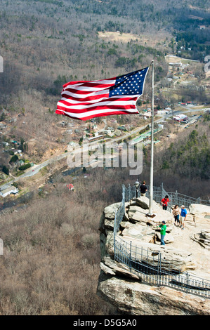 A view of the top of Chimney Rock at Chimney Rock State Park , near Asheville  North Carolina - Stock Photo
