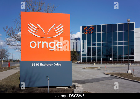 Ornge Sign and Logo outside Head Office, Mississauga. - Stock Photo