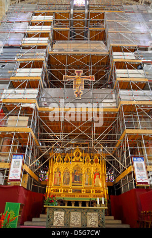 Scaffold covering the altar during restoration to Basilica Santa Croce in Florence Italy - Stock Photo