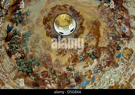 Dome of the abbey church with ceiling fresco by Johann Jakob Zeiller, Ettal Abbey, Bavaria, Germany - Stock Photo