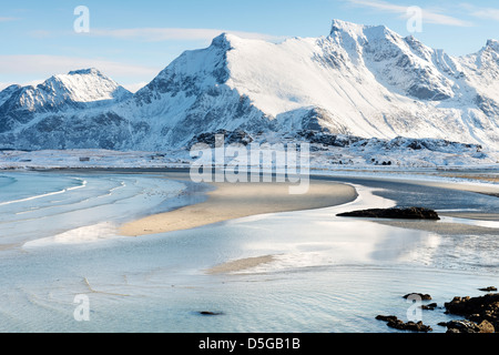 A view of Ytresand bay, Sandbotnen looking towards Fredvang village on the Lofoten islands, Norway - Stock Photo