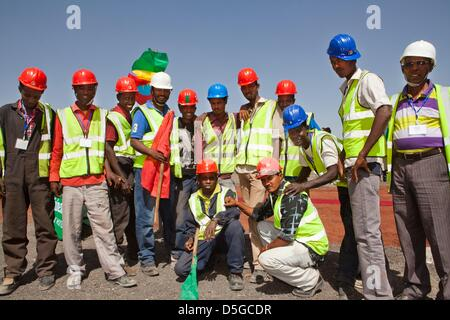 Dutch minister lilanne ploumen (development aid) visits construction site of new heinkene brewery outside  Addid - Stock Photo