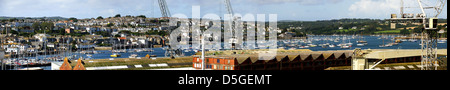 View of Falmouth and the docks from Pendennis Rise, Falmouth, Cornwall - Stock Photo
