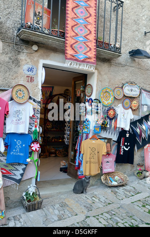 Souvenir shop in the historic hilltop village of Erice, Italy. - Stock Photo