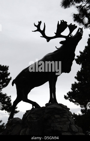 The caribou statue at the Gueudecourt Memorial, a Newfoundland WW1 memorial, near Gueudecourt, Somme, Picardy, France. - Stock Photo