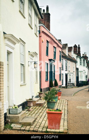 Row of traditional town houses in Clare, Suffolk - Stock Photo