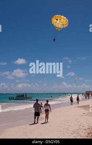 Dominican Republic, Punta Cana, Higuey, Bavaro, Bavaro Beach, parasailing - Stock Photo